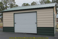 Steel garage with 2 tone metal color.